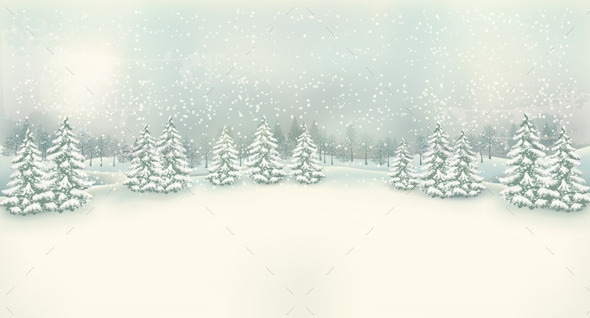 Retro Christmas Winter Landscape Background - Christmas Seasons/Holidays