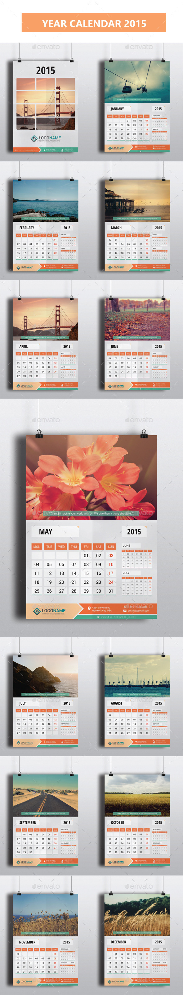 Year Calendar 2015 - Calendars Stationery