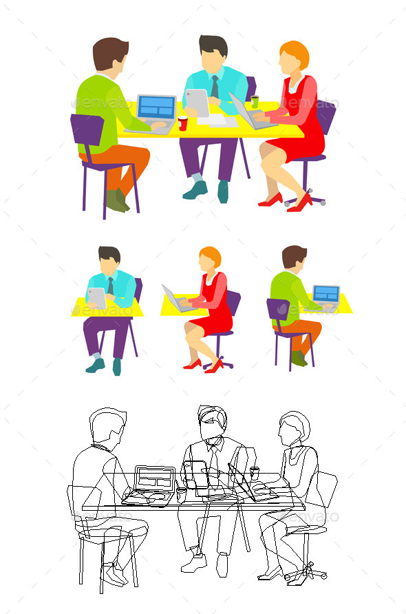 Three People Working at the Desk. - People Characters