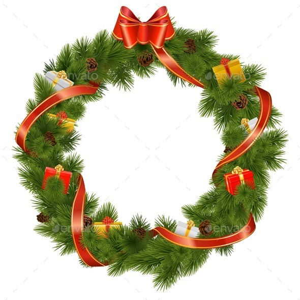 Vector Christmas Wreath with Gifts - Christmas Seasons/Holidays