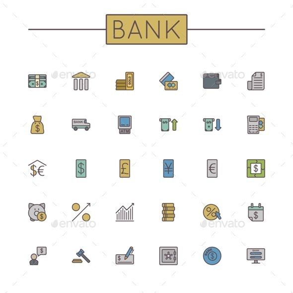 Vector Colored Bank Line Icons - Concepts Business