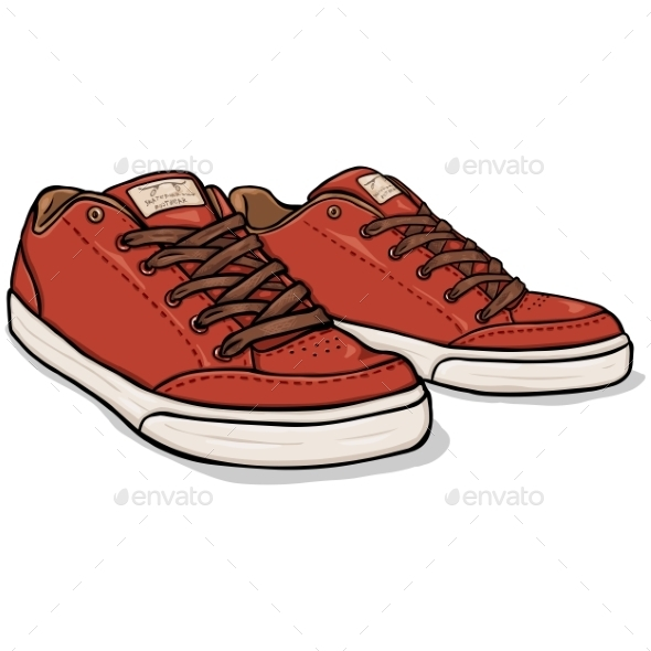 Vector Cartoon Red Skaters Shoes - Man-made Objects Objects