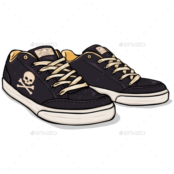 Vector Cartoon Black Skaters Shoes - Man-made Objects Objects