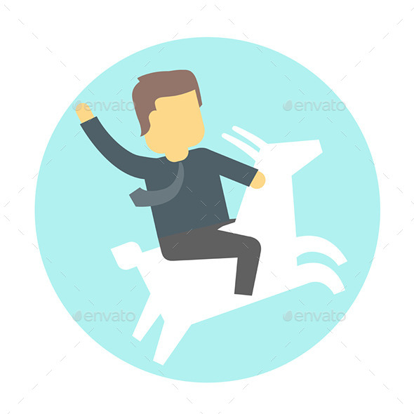 Man on Goat. - People Characters