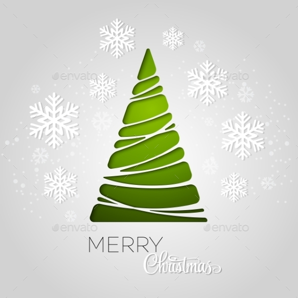 Merry Christmas Tree Greeting Card - Miscellaneous Vectors