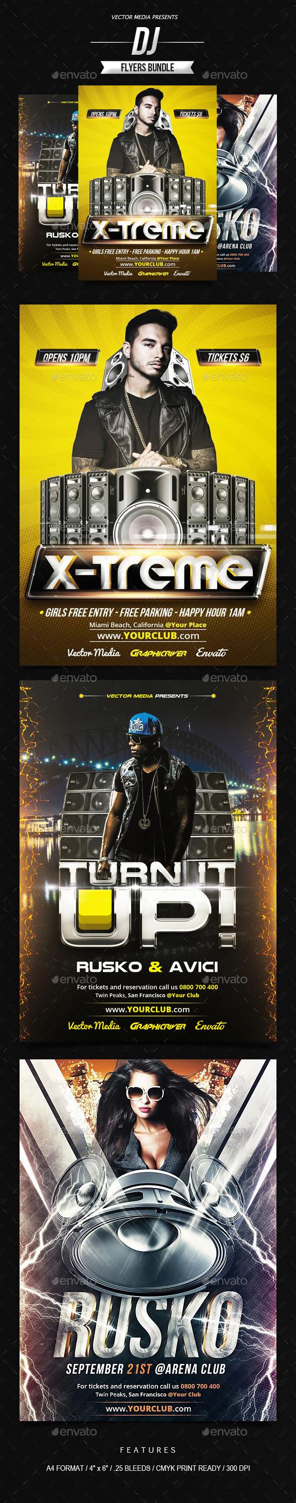 DJ - Flyers Bundle - Clubs & Parties Events