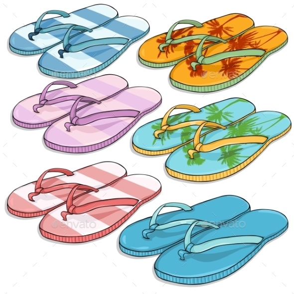 Vector Set of Cartoon Beach Slippers - Man-made Objects Objects