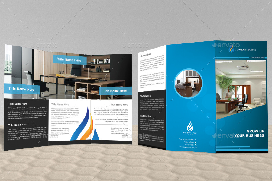 unique office tri fold brochure design by