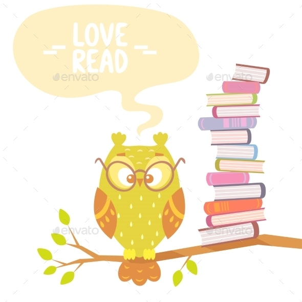 Owl and Books - Animals Characters