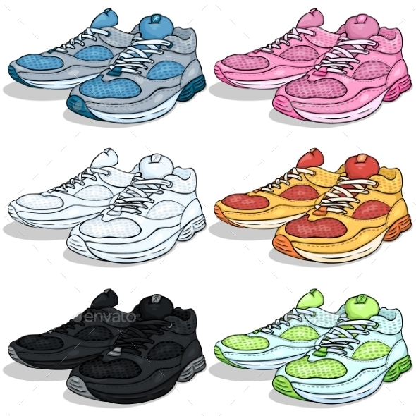 Vector Set of Cartoon Running Shoes - Sports/Activity Conceptual