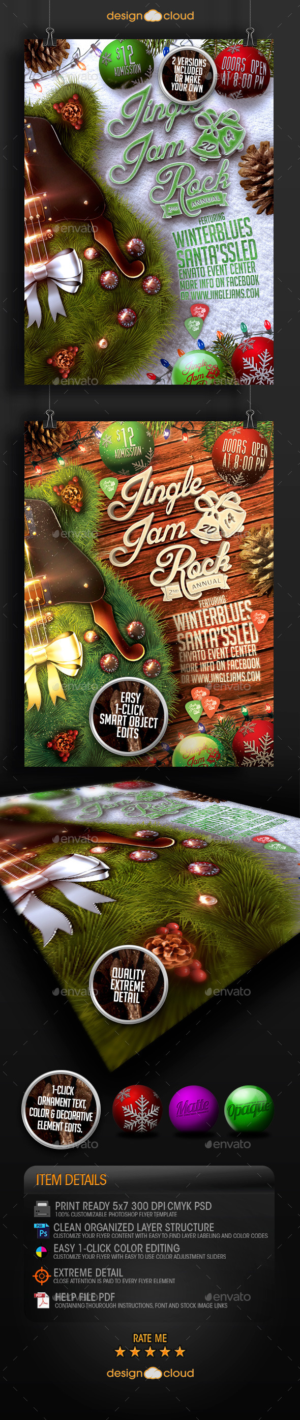 Jingle Jam Rock Christmas Flyer Template - Holidays Events