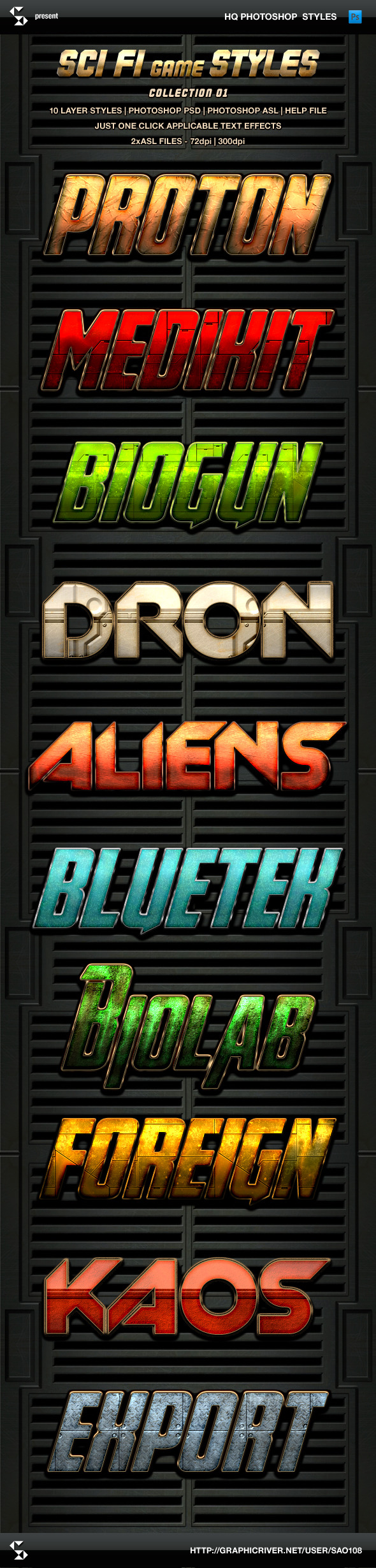 Sci-fi Game Styles - Collection 1 - Text Effects Styles
