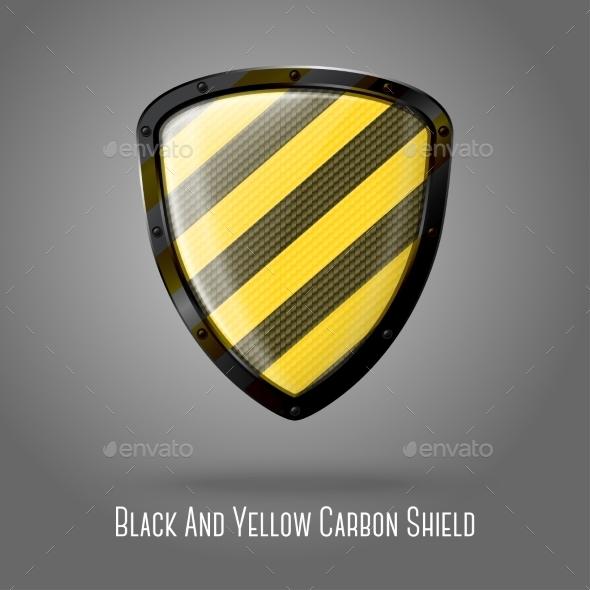 Yellow and Black Caution Shield - Web Elements Vectors