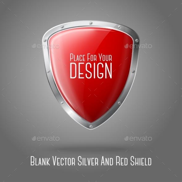 Silver and Red Shield - Health/Medicine Conceptual