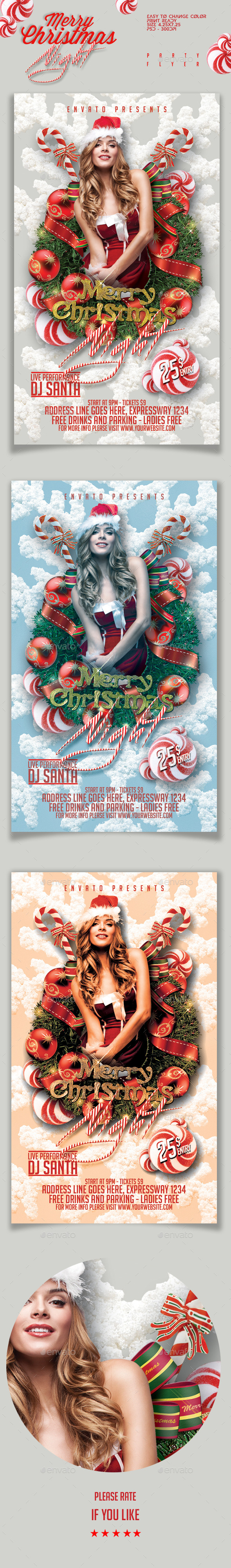 Merry Christmas Night Party Flyer - Holidays Events