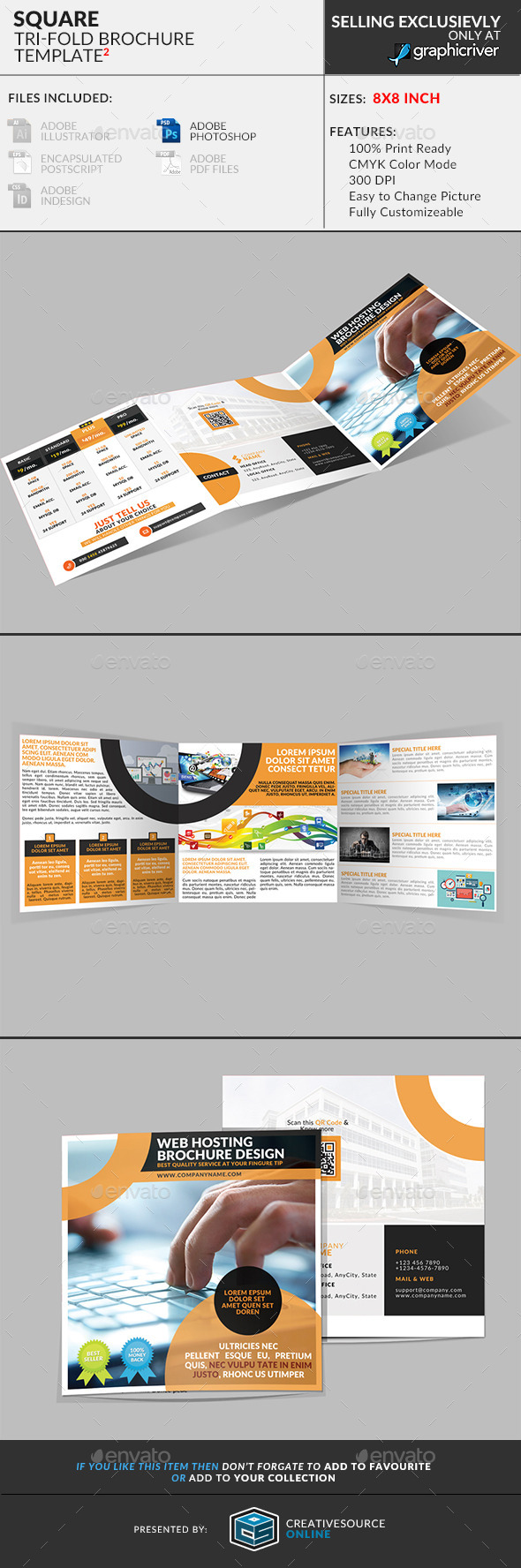 Square Trifold Brochure: Web Hosting Service - Corporate Brochures
