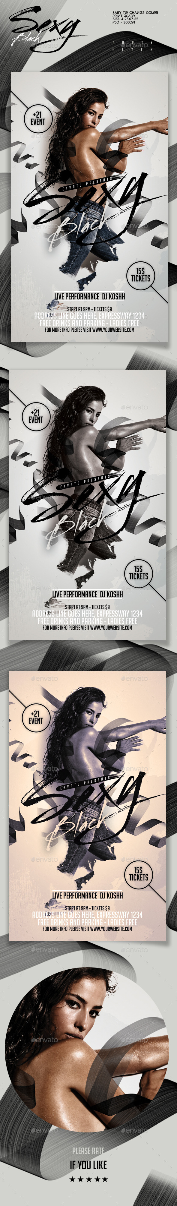 Sexy Black Party Flyer - Clubs & Parties Events