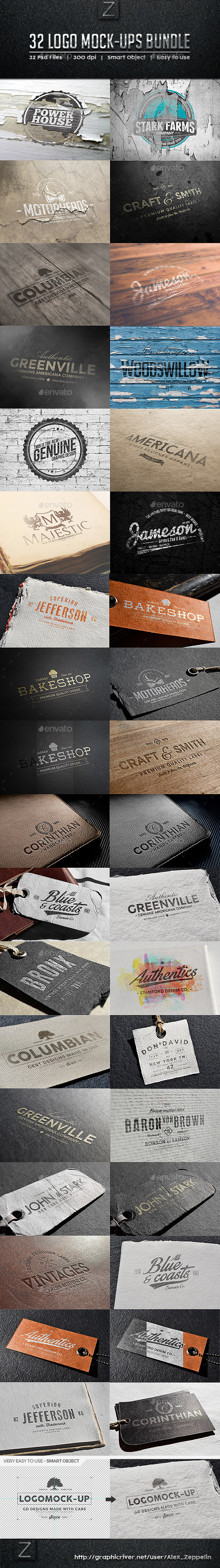32 Logo Mock-ups Bundle - Logo Product Mock-Ups
