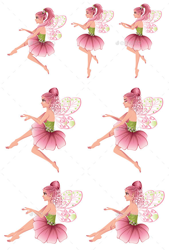 Pink Floral Fairy - People Characters