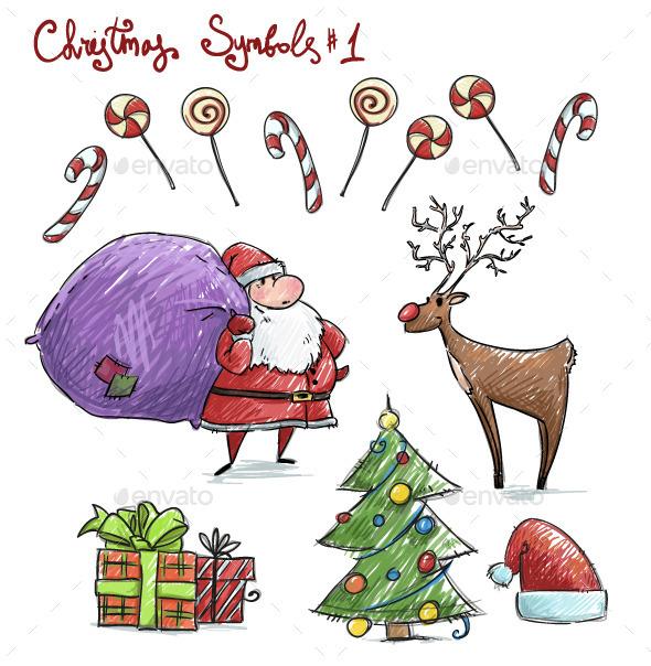 Doodle Christmas Symbols - Christmas Seasons/Holidays