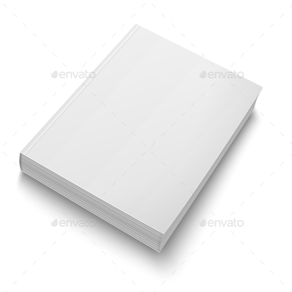 Blank Softcover Book Template on White - Man-made Objects Objects