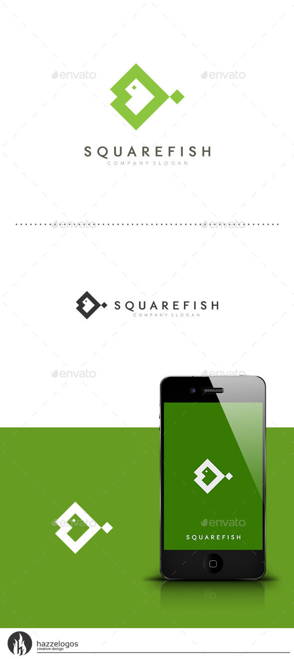 Square Fish Logo - Animals Logo Templates