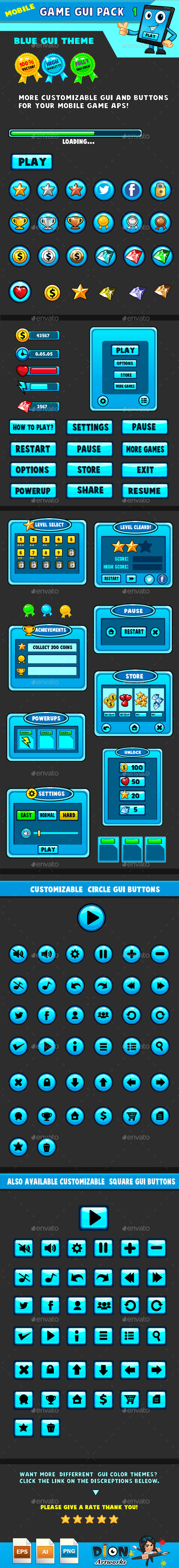 Mobile games GUI Pack-1  Blue theme - User Interfaces Game Assets