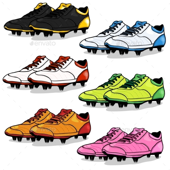 Set of Cartoon Soccer Boots - Sports/Activity Conceptual