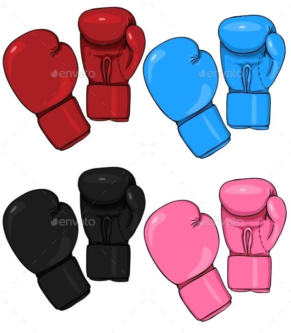 Set of Cartoon Boxing Gloves - Miscellaneous Vectors