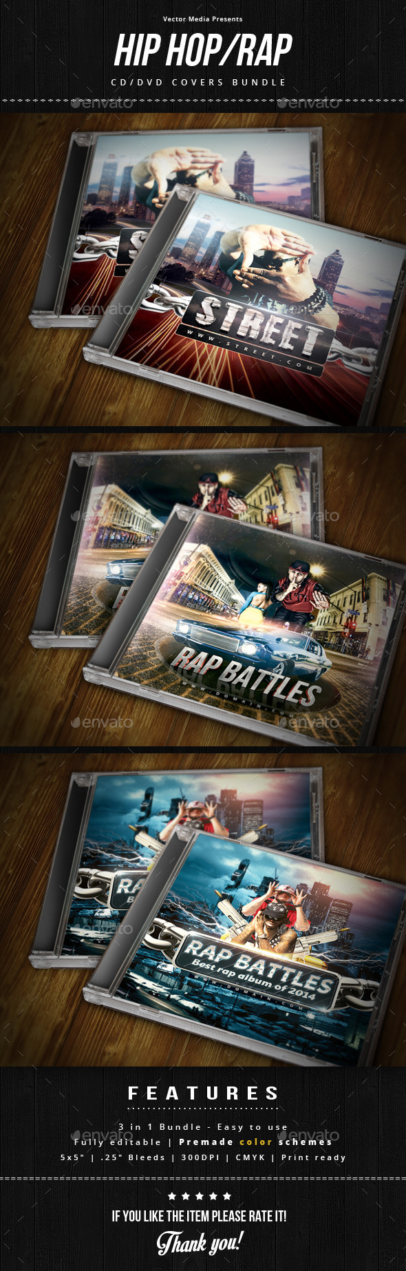 Hip Hop / Rap - Cd Covers Bundle - CD & DVD Artwork Print Templates