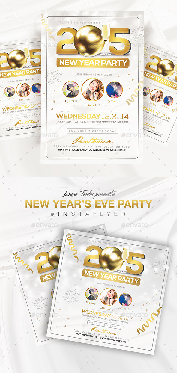 Elegant New Year Party Flyer + Instapromo - Clubs & Parties Events