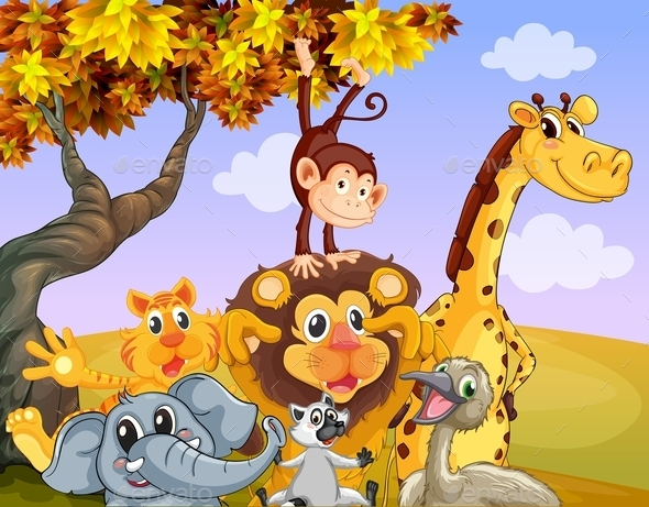 Wild Animals Near a Big Tree - Animals Characters