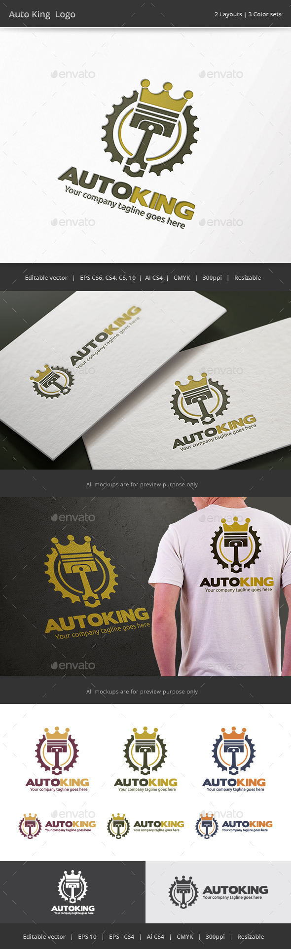 Auto King Piston Logo - Objects Logo Templates