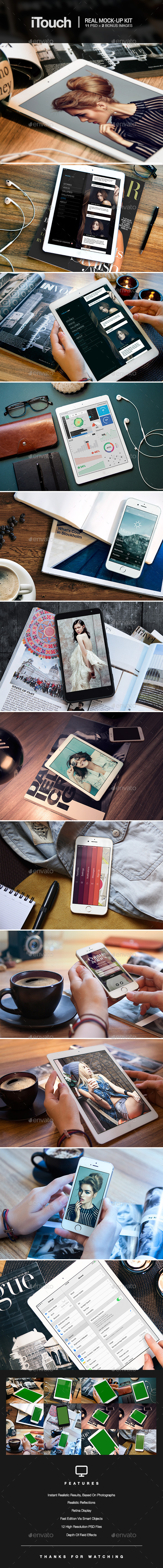 iTouch - 12 Photorealistic MockUp - Mobile Displays