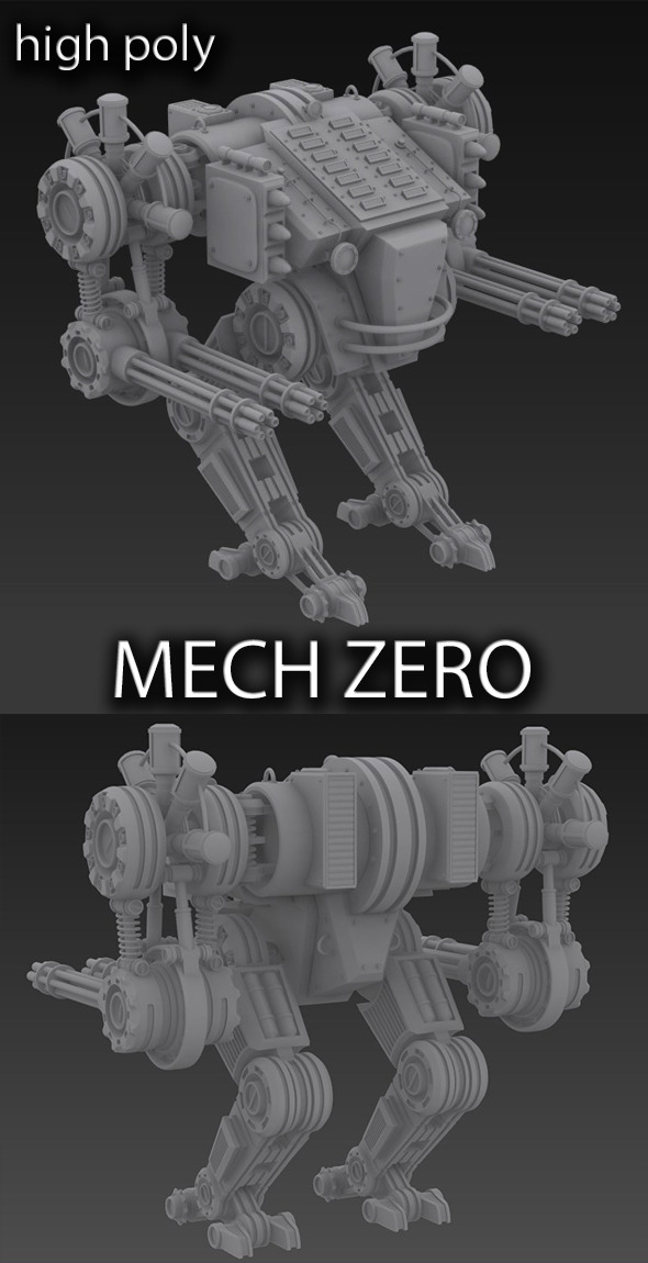 Unique mech robot . High poly  - 3DOcean Item for Sale