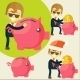 Businessman Saves Money in Piggy Bank - GraphicRiver Item for Sale