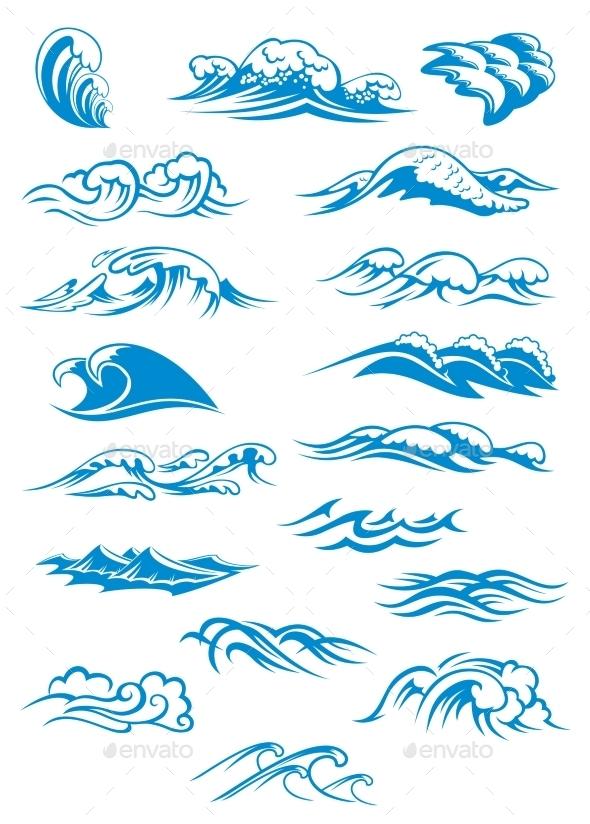 Blue Breaking Ocean Waves - Nature Conceptual
