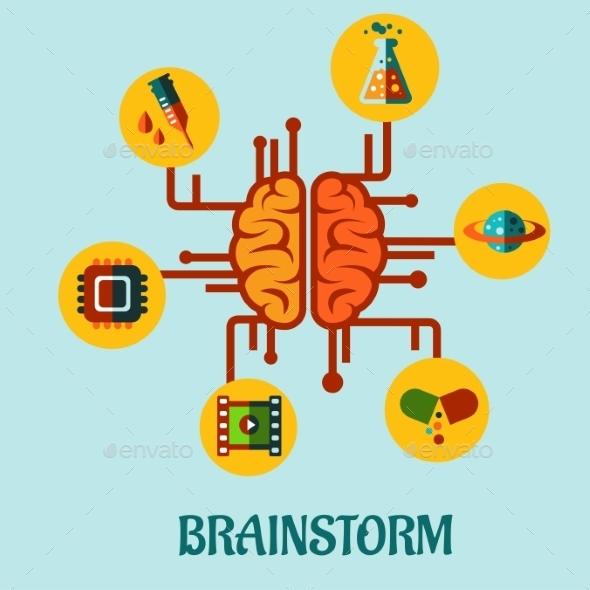 Creative Brainstorming Flat Concept Design - Miscellaneous Conceptual