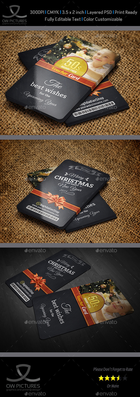 Christmas and New Year Gift / Voucher Card Vol. 15 - Cards & Invites Print Templates