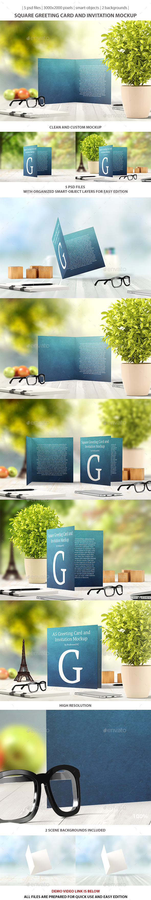 Square Greeting Card and Invitation Mockup - Miscellaneous Print