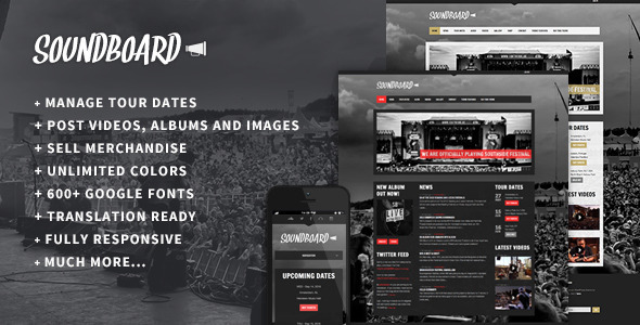 Soundboard – a Premium Responsive Music WordPress Theme
