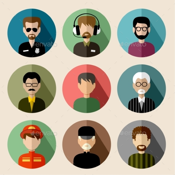Set of Round Flat Icons with Men - People Characters