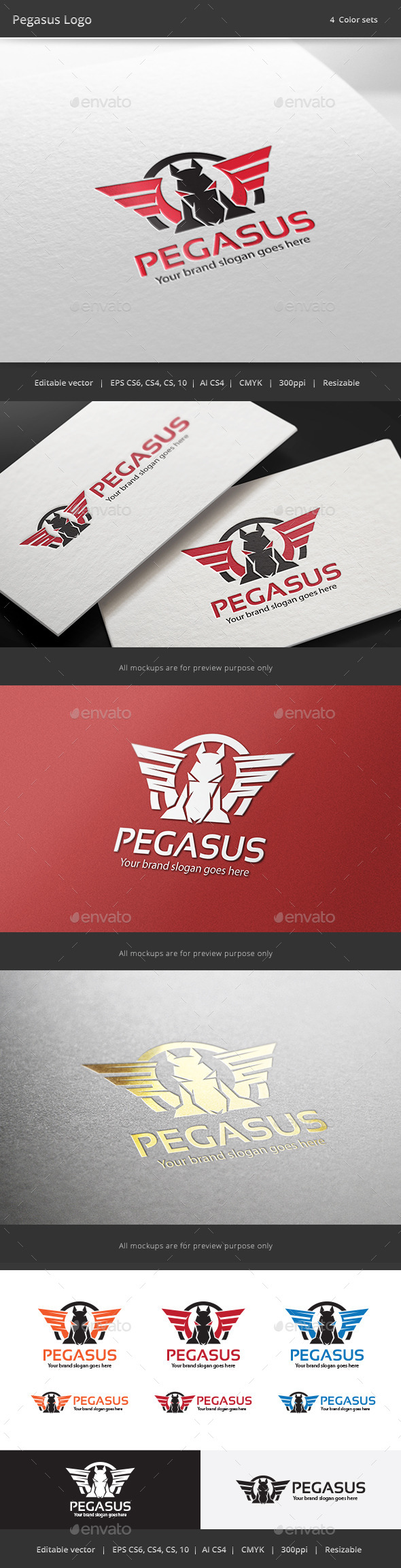 Pegasus Brand Logo - Animals Logo Templates