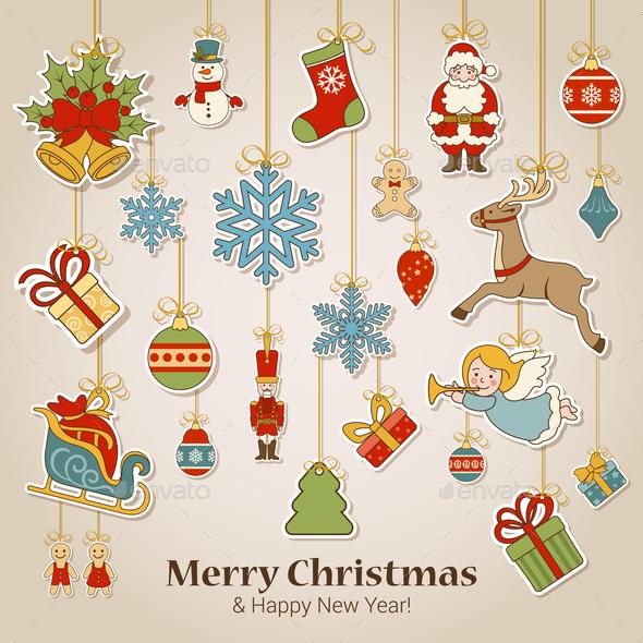 Christmas New Year Stickers - Christmas Seasons/Holidays