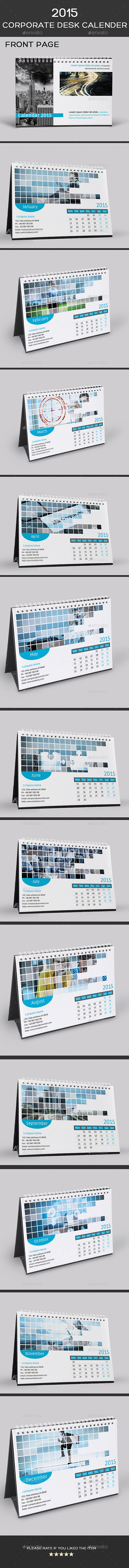 2015 Corporate Desk Calendar Template ( PSD ) - Calendars Stationery