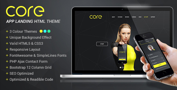 Core – Mobile App Landing HTML Theme