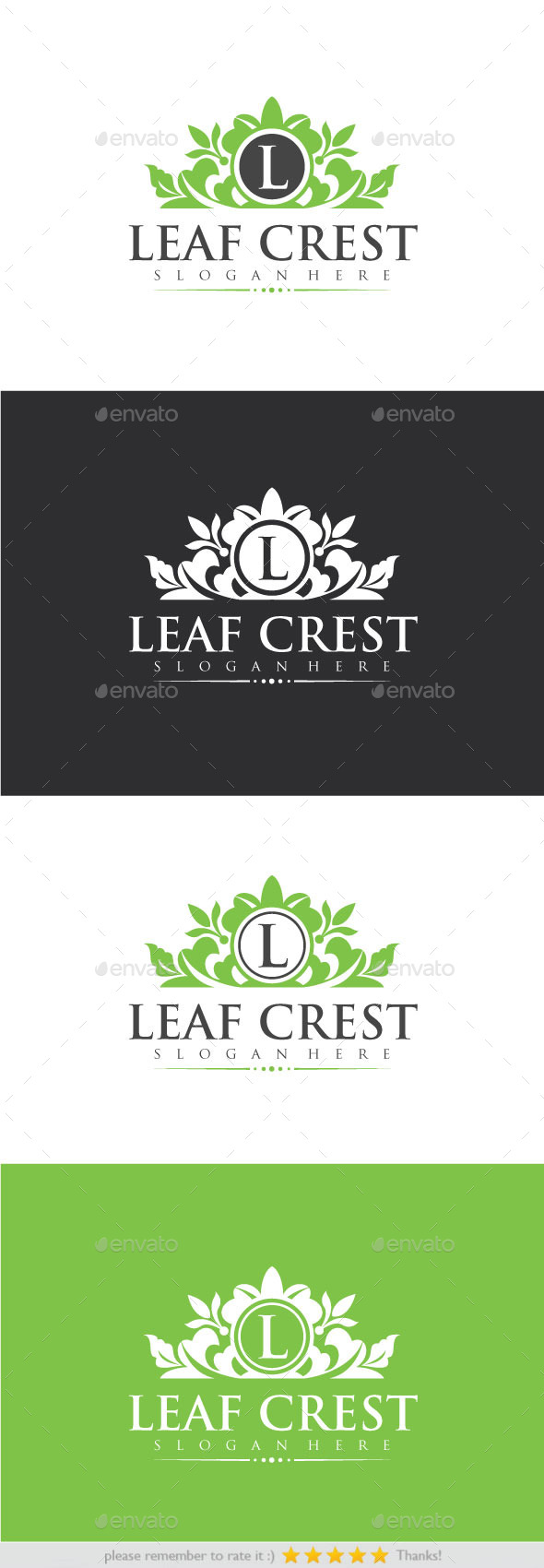 Leaf Crest - Crests Logo Templates