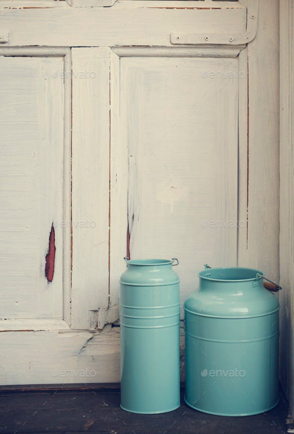 Vintage milk canisters. - Stock Photo - Images