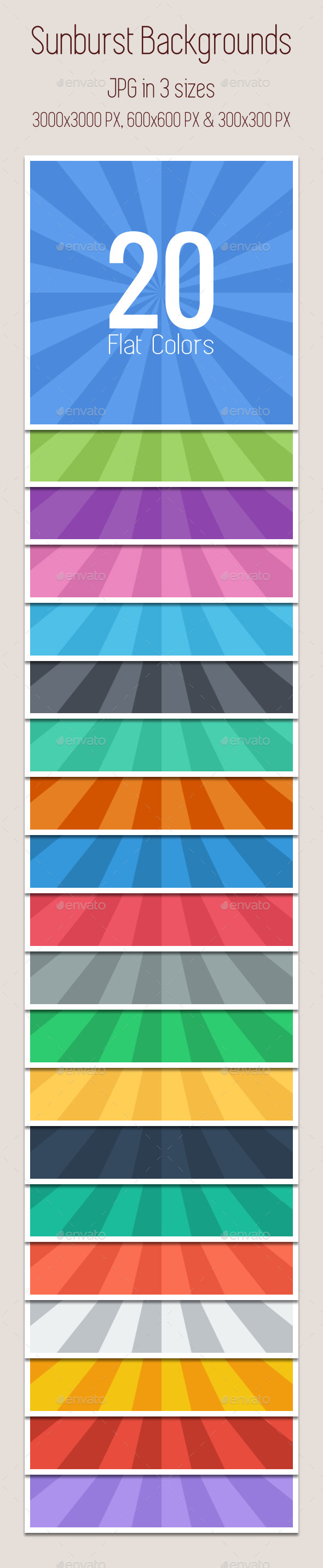 Sunburst Backgrounds (Flat Colors) x20 - Backgrounds Graphics