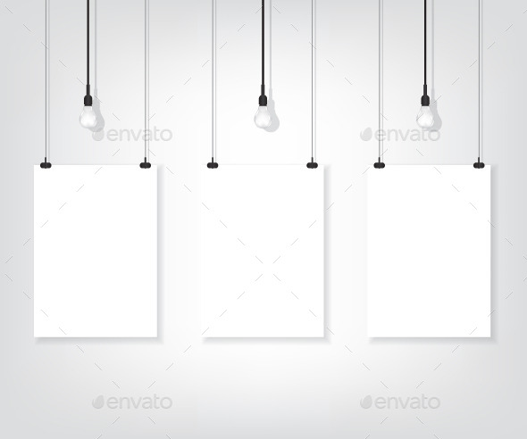 Three White Poster on Wall and Bulbs - Objects Vectors